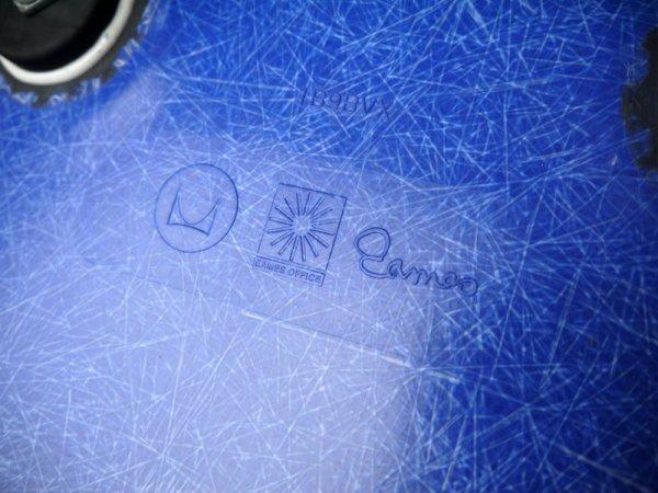 ハーマンミラー HermanMiller アームシェルチェア 現行 美品 FRP製 U.マリンブルーシェル 1タイプエッフェルベース DAR C&R. イームズ 名作チェア MoMA ◇