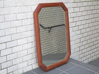 チーク無垢材 ウォールミラー ビンテージスタイル 八角形 ■
