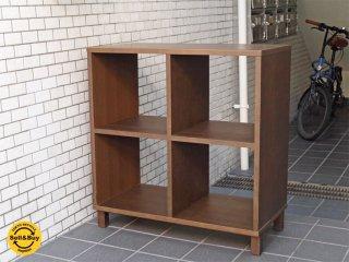 無印良品 MUJI オープンシェルフ 2×2 タモ材 ブラウン 棚 キャビネット ■