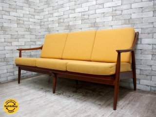 デンマーク ビンテージ 3人掛け ソファ オーク材 北欧家具 ●