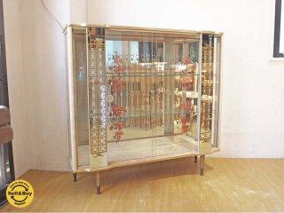 イギリス ビンテージ UK Vintage ガラス ディスプレイ キャビネット オリエンタル デコラティブミラー仕様 カクテルキャビネット ★