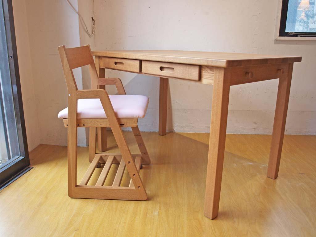 飛騨産業 キツツキ HIDA オーク無垢材 学習椅子 デスクチェア 布座 キャスター付 森のことば キッズチェア 高さ調整可 ★