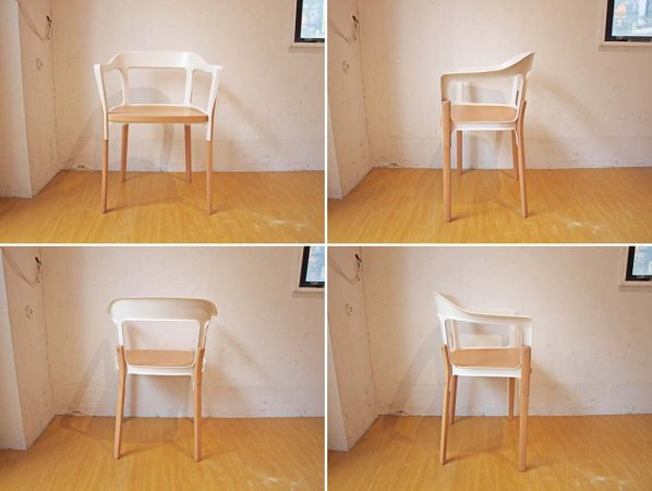 マジス Magis スティールウッドチェア Steelwood Chair ホワイト×ビーチ材 Ronan & Erwan Bouroullec ブルレック A 美品 ★