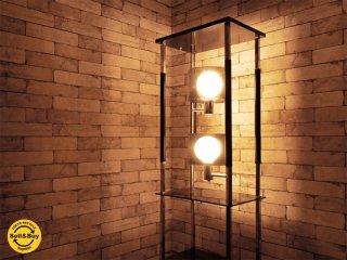 ビンテージ vintage スリムシェルフ 照明付き アクリル × スチール ミッドセンチュリー ●