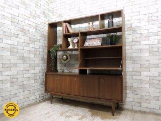 USビンテージ 木製 オープンシェルフ 大型 収納棚 飾り棚 ミッドセンチュリー ●