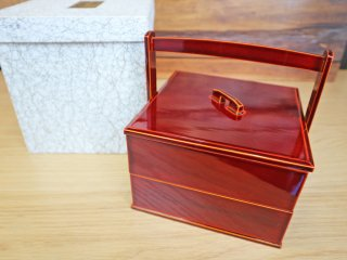 飛騨春慶 お重箱 2段重ね弁当 漆塗り ヒノキ 工芸品 ◎