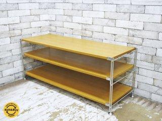 無印良品 MUJI タモ材 ステンレス ユニットシェルフ 3段 棚板補強バー付き AVボード ●