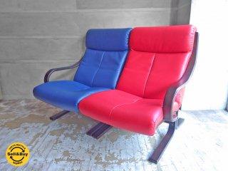 冨士ファニチア FUJI FURNITURE セパレート2Pアームソファ 肘付き椅子 本革 レザー ブルー&レッド♪