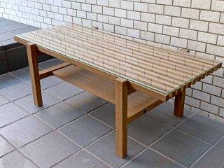 ウニコ unico レイン LIJN ガラストップ×エルムウッド ニレ材 ローテーブル ナチュラル ■