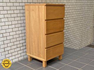 無印良品 MUJI 木製チェスト 4段 スリム フルオープン ナチュラルウッド シンプルモダンデザイン ■