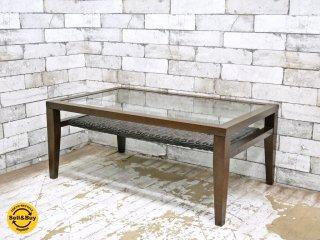 エーフラット a.flat ケイ KEI ウッド × ガラス × ラタン ローテーブル センターテーブル ●