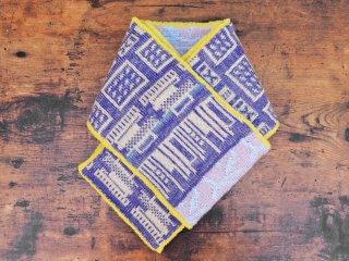 紀編物製作 ハンドメイド ニット編み工房 マフラ— 本棚 菫色×薄桃色 新品 ●