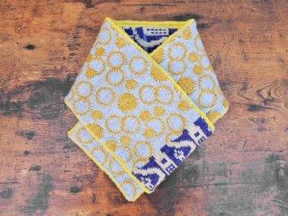 紀編物製作 ハンドメイド ニット編み工房 マフラ— 街 紫×青系 新品 ●