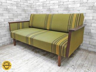 デンマーク ビンテージ Danish vintage 2シーター デイベッド ソファベッド 木製フレーム × ストライプファブリック 北欧家具 ●
