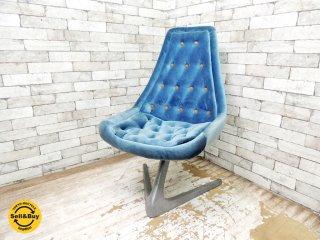 クロームクラフト CHROMECRAFT ユニコーンチェア Unicorn chair ブルー ベロア生地 ウラジミール・ケーガン Vladimir Kagan スタートレック ビンテージ ●