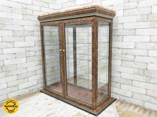 ヨーロピアン クラシカル ガラスキャビネット 人工大理石天板 イタリー調 ●