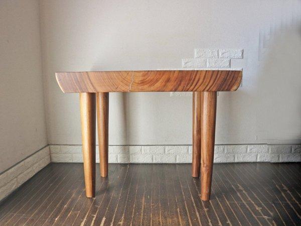 無垢材 一枚板 ダイニングテーブル デスク モンキーポッド 天然木 ◎