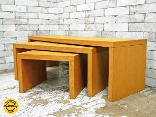 ナチュラルデザイン オーク材 ネストテーブル サイドテーブル AVボード 入れ子式 ●