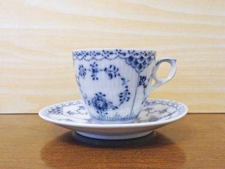 ロイヤルコペンハーゲン ROYAL COPENHAGEN デンマーク ブルーフルーテッド ハーフレース C&S コーヒーカップ&ソーサー 北欧食器 A ◇
