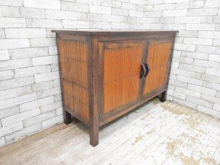 アジアン家具 Asian Furniture サイドボード バンブー × 無垢材 観音開き ●