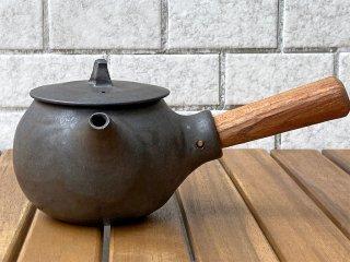 馬場勝文 黒釉 急須 チーク材取っ手付き 陶器 丸型 ■