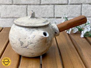 馬場勝文 刷毛目 急須 チーク材取っ手付き 陶器 丸型 ■