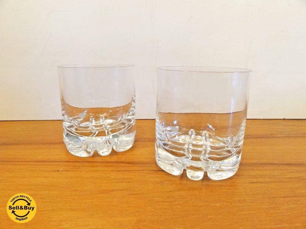 オレフォス Orrefors スウェーデン エリック Erik オールドファッショングラス 2個セット クリスタル ガラス オーレ・アルベリウス 北欧食器 ◇