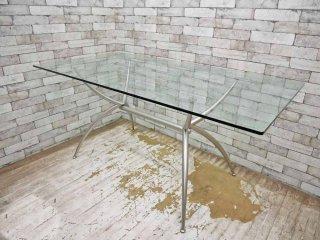 カリガリス Calligaris ガラストップ ダイニングテーブル 160cm 希少モデル イタリア ●