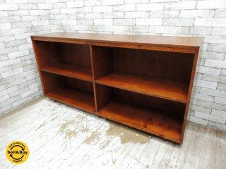 USビンテージ 木製 サイドボード ワイドシェルフ 収納家具 ミッドセンチュリー P.F.S.購入品 ●