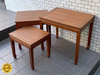 アジアン家具 木製 ネストテーブル サイドテーブル クラシカル ■