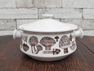 北欧ビンテージ 両手鍋 キノコ柄 陶製 ●