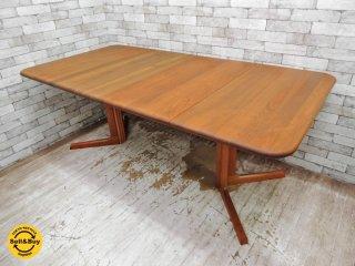 グドメ GUDME 伸長式 ダイニングテーブル チーク無垢材 ビンテージ デンマーク 希少 ●