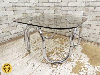 USビンテージ ガラス × スチール センターテーブル コーヒーテーブル スモークガラス ミッドセンチュリーモダン ●