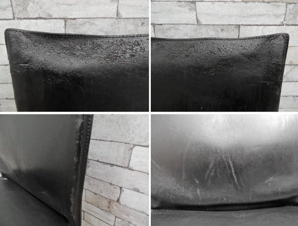 カッシーナ Cassina 412 CAB アームレスチェア キャブチェア 本革 ブラック マリオ・ベリーニ イタリア モダンデザイン 定価213,840円 現状品 A ●