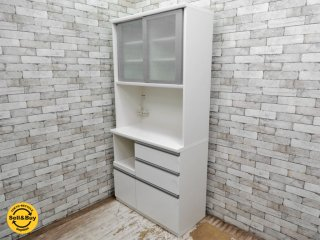 松田家具 MATSUDA フィーネ キッチンボード ダイニングボード 食器棚 ホワイト 参考価格\81,277- ●