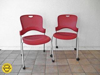 ハーマンミラー Herman miller ケイパーチェア CAPER Chair カートチェア スタッキング ジェフ・ウェバー レッド 2脚セット 参考価格 1脚¥36,300- ◇