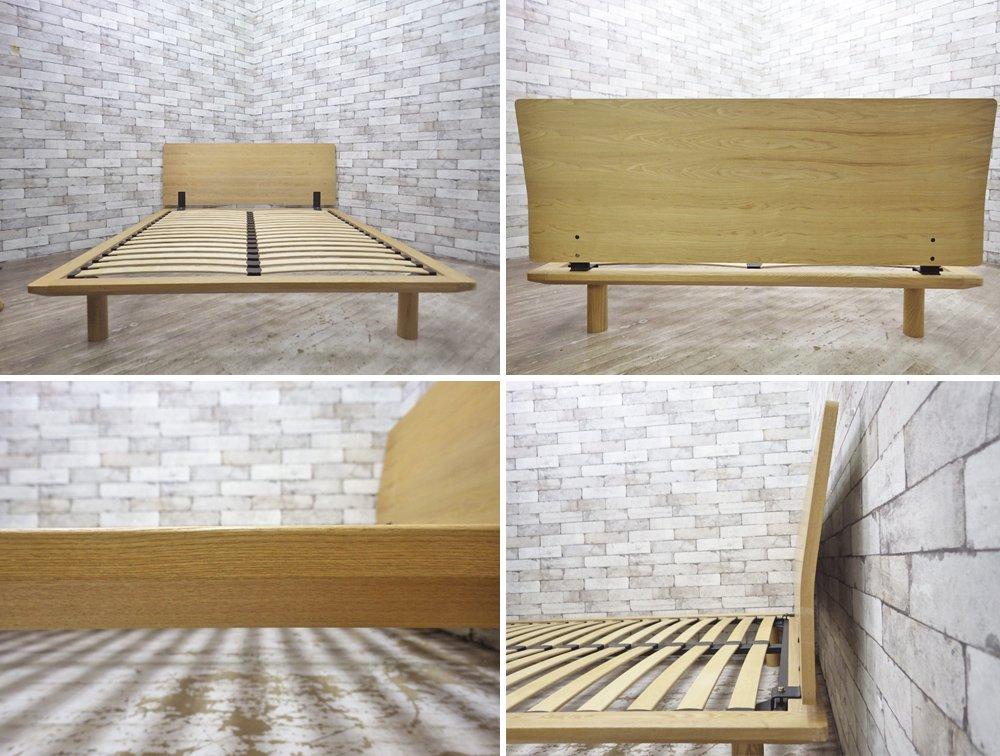 無印良品 MUJI タモ材 ダブルサイズ ベッドフレーム ウッドスプリング仕様 ヘッドボード付 ●