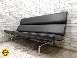 ハーマンミラー Herman Miller イームズソファコンパクト Eames Sofa Compact ビンテージ 3人掛けソファ 折り畳み ブラック C&R イームズ ミッドセンチュリー ●