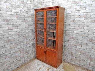 ジャパンビンテージ Japan Vintage チーク材 カップボード 食器棚 本棚 飾り棚 ガラス扉 昭和レトロ ●