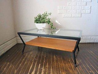 フランフラン Francfranc メリオル コーヒーテーブル ガラステーブル L ガラス × アイアン W90cm ◎