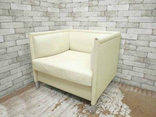 ノル Knoll リー ラウンジ ソファ Lee Lounge Sofa 1人掛け ソファ 本革 レザー ホワイト ギャリー・リー Gary Lee A ●