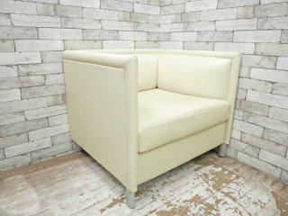 ノル Knoll リー ラウンジ ソファ Lee Lounge Sofa 1人掛け ソファ 本革 レザー ホワイト ギャリー・リー Gary Lee B ●