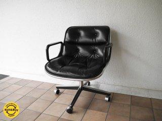 ノル Knoll ポロックチェア Pollock Chair アーム & レザーシート ビンテージ オリジナル旧4本脚 キャスターベース 本革 ブラック デスクチェア ミッドセンチュリー ◇
