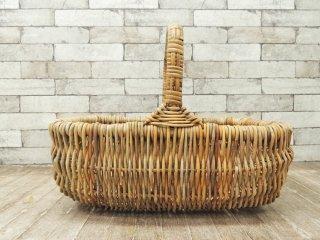 ビンテージ Vintage 籐製 ラタン 編み バスケット カゴ 大型 ハンドル付き ナチュラルスタイル ●