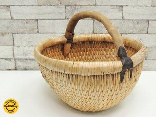 ビンテージ Vintage 籐製 ラタン 編み バスケット カゴ 木製ハンドル ナチュラルスタイル ●