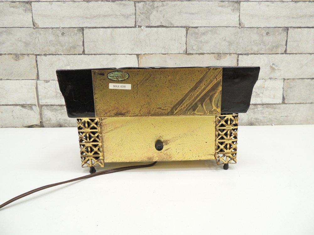 USビンテージ プランター付き デスクライト フロアライト 真鍮 × 陶器 ミッドセンチュリー ●