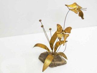 USビンテージ 真鍮 × 石 オブジェ 蝶 植物 ミッドセンチュリー ●