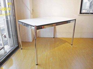 ハラーシステム USM Haller ハラーテーブル カンファレンス ワーキングテーブル ダイニングテーブル 幅125cm アジャスター 高さ調整機能付き ホワイト ★