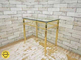 ヨーロピアンクラシカル European Classical サイドテーブル ガラストップ メタルフレーム ボタニカル●