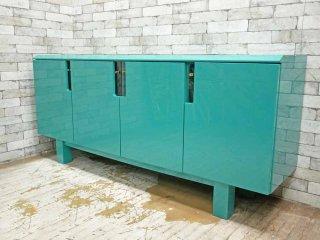 モダンデザイン Modern Design サイドボード リビングボード 4枚扉 グリーン ピアノフィニッシュ イタリア ●